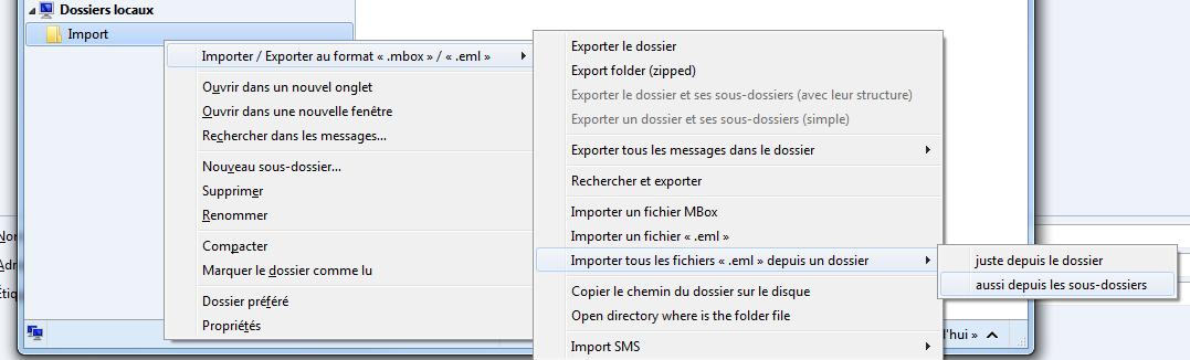 Il faut créer un répertoire dans les «Dossiers locaux» (ici nommé Import); puis importer les courriels désirés.