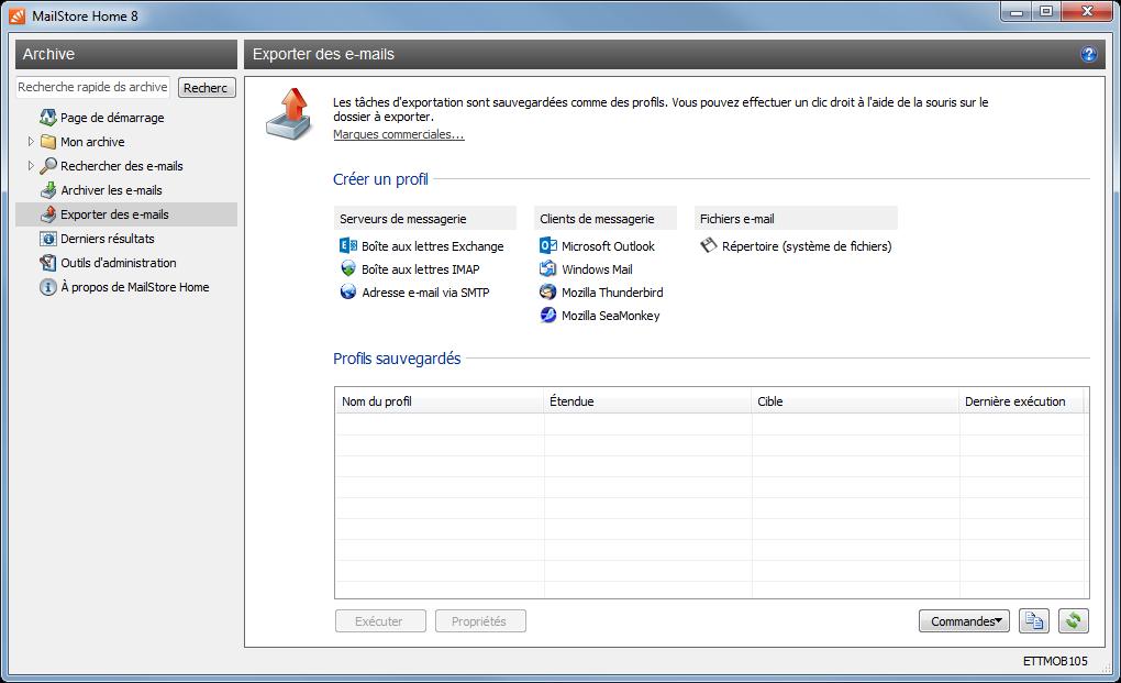 Choisir l'option à gauche « Exporter des e-mails », puis à droite « Fichiers e-mail » - « Répertoire (système de fichiers)».